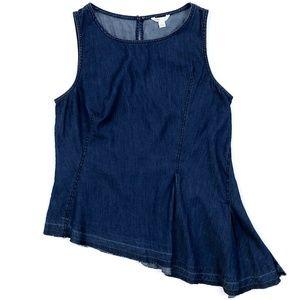 CATO Women's Casual Denim Sleeveless Shirt Lg